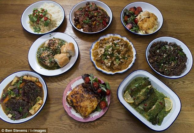 From top, left to right: M&S Thai Green Chicken, chicken cacciatore, fish pie, M&S Pesto Chicken, lamb rogan josh, mushroom risotto, M&S Peppercorn Beef, M&S Venison Lasagne, M&S Salmon & Asparagus