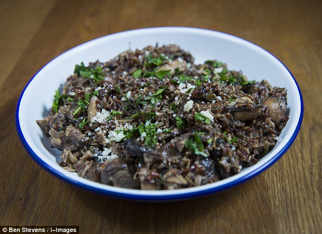 Wild mushroom risotto made with red rice - homemade or ready meal?