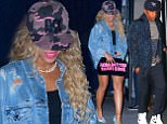 03 October 2016 - New York, NY  - USA **STRICTLY AVAILABLE FOR UK AND GERMANY USE ONLY** Singer, Beyonce, let her shoes do her talking after having a private party for her 'Formation World Tour' staff at Bagatelle Restaurant.  She was seen wearing a denim shirt, furry bag, and blue t-strap shoes with lips on them. BYLINE MUST READ : AKM-GSI-XPOSURE ***UK CLIENTS - PICTURES CONTAINING CHILDREN PLEASE PIXELATE FACE PRIOR TO PUBLICATION *** *UK CLIENTS MUST CALL PRIOR TO TV OR ONLINE USAGE PLEASE TELEPHONE 0208 344 2007*