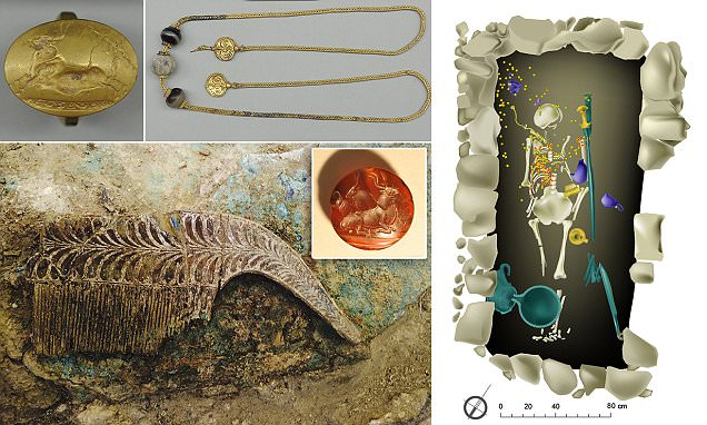 Jewellery from ancient warrior's tomb could give insights into origins of Greek