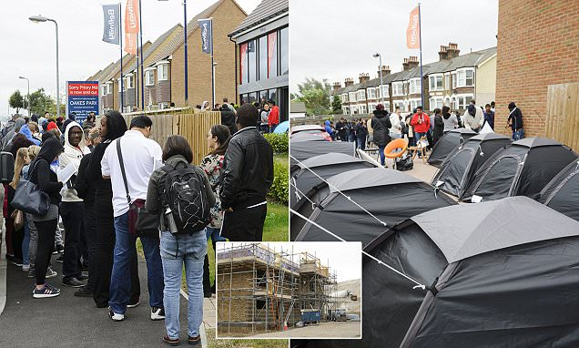 Desperate house hunters camp outside an estate agent OVERNIGHT in Dartford, Kent