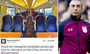 Aston Villa trolled by Virgin Trains in Twitter war as train provider makes jibe after