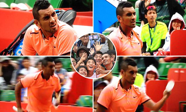 Nick Kyrgios shows his caring side by coming to unwell fan's rescue with a bottle of water