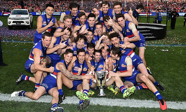 Western Bulldogs celebrate their historic premiership win despite Bob Murphy looking glum