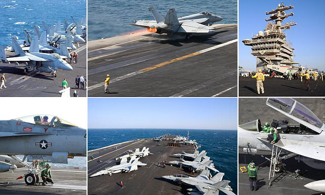On board the USS Eisenhower as its Top Guns blast ISIS with bombing missions