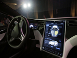 FILE - This Tuesday, Sept. 29, 2015, file photo shows the dashboard of the Tesla Model X car, at the company's headquarters in Fremont, Calif. Newer cars that connect to the internet are capable of collecting vast amounts of data about their drivers. Tesla Motors has used data to reveal, sometimes within hours of a crash, how fast the driver was going and whether or not the company¿s semi-autonomous Autopilot system was engaged. (AP Photo/Marcio Jose Sanchez, File)