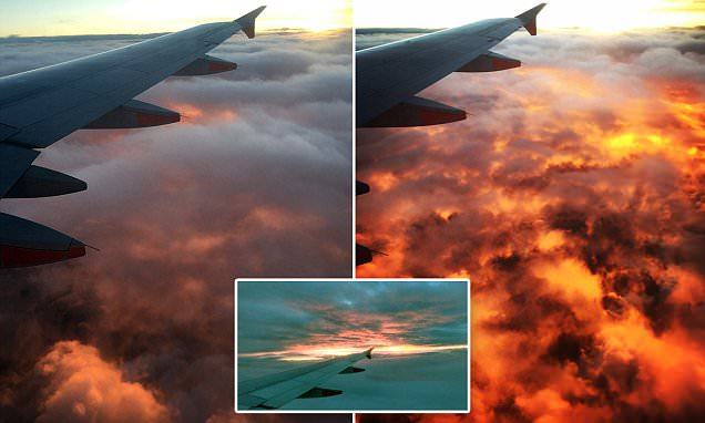 Melbourne passenger captures moment a sea of clouds is transformed into 'molten lava'