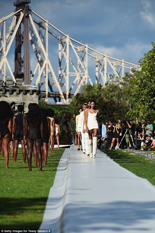 Beauty brigade: Models walk the runway at the show, held September 7 at Roosevelt Island's Franklin D. Roosevelt Four Freedoms Park