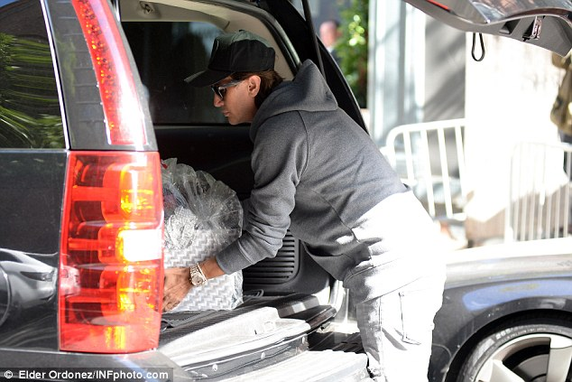 There's the loot: The basket Cheban brought Kardashian was large and white