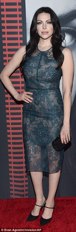 Raven haired beauty: The 36-year-old actress looked gorgeous in a sheer teal pencil dress and black heels