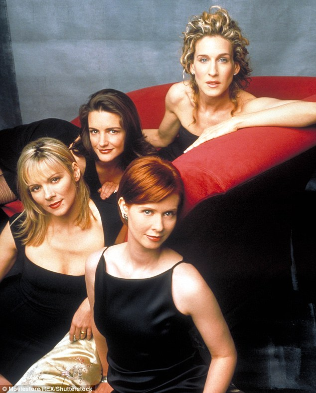 Popular show: Cynthia is shown with Kim Cattrall, Kristin Davis and Sarah in a 1998 promo still for Sex And The City