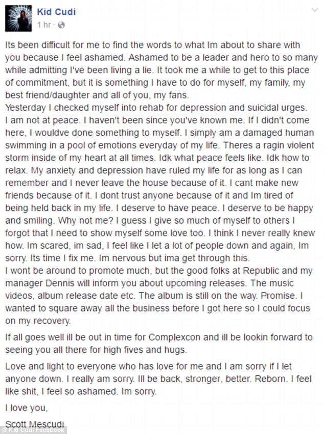 Heartbreaking: The star - bornScott Ramon Seguro Mescudi - was very honest with his fans in the sad note but promised that his new album is still on the way