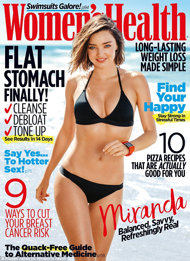 Hot mama! Miranda Kerr sizzles as she poses in a black bikini on the November cover of Women's Health magazine
