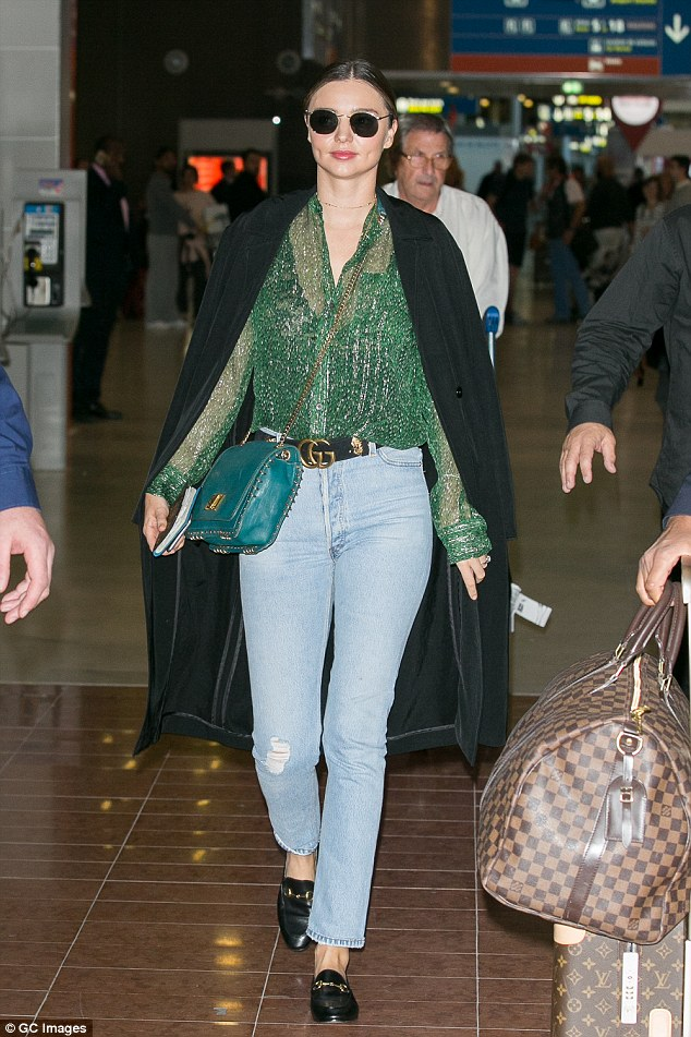 Touch down: The skincare founder stunned in a casual high-end ensemble as she arrived in France earlier in the day