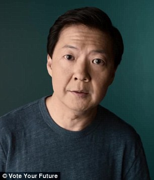 Staying alive: Moby also appealed for gun control, while Ken Jeong spoke for healthcare
