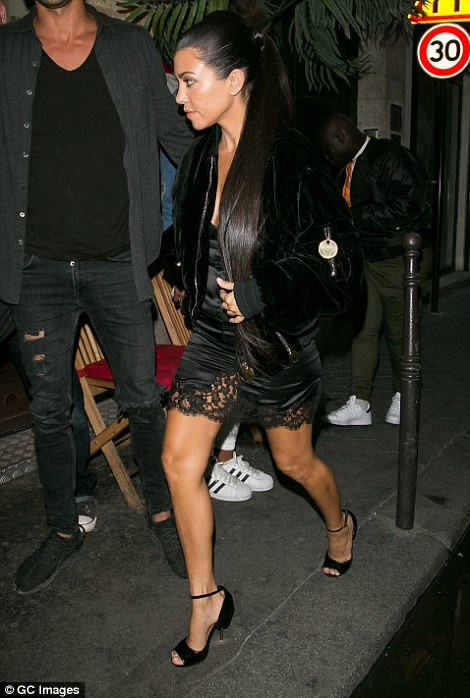 Another source also questioned whether the Kardashians had had the appropriate level of security in relation to their high celebrity profile. Pictured:Kourtney Kardashian leaving Ferdi restaurant on Thursday night