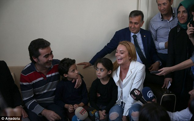 Charitable: The actress has flown to Turkey to show her support for Syrian refugees, during which she has been paying visits to local families