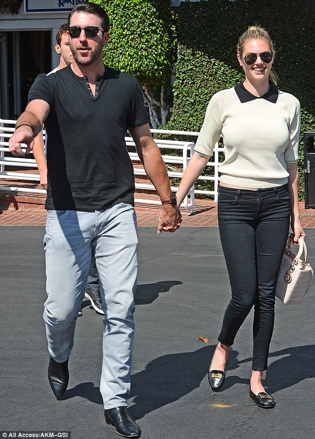 Going wild in the aisles: Justin Verlander treated fiancee Kate Upton to a shopping spree in Los Angeles on Tuesday