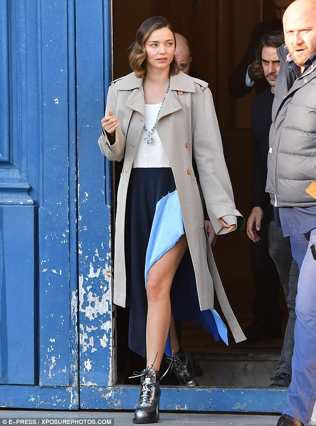 Back at work! Miranda Kerr took part in a photoshoot for Louis Vuitton in Paris on Tuesday