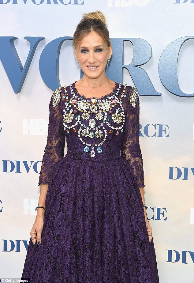 Simply sparkling! The 51-year-old actress dazzled in a jeweled lace dress