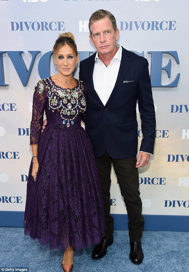 HBO stars: The actress posed alongside her onscreen husband Thomas Haden Church, 56