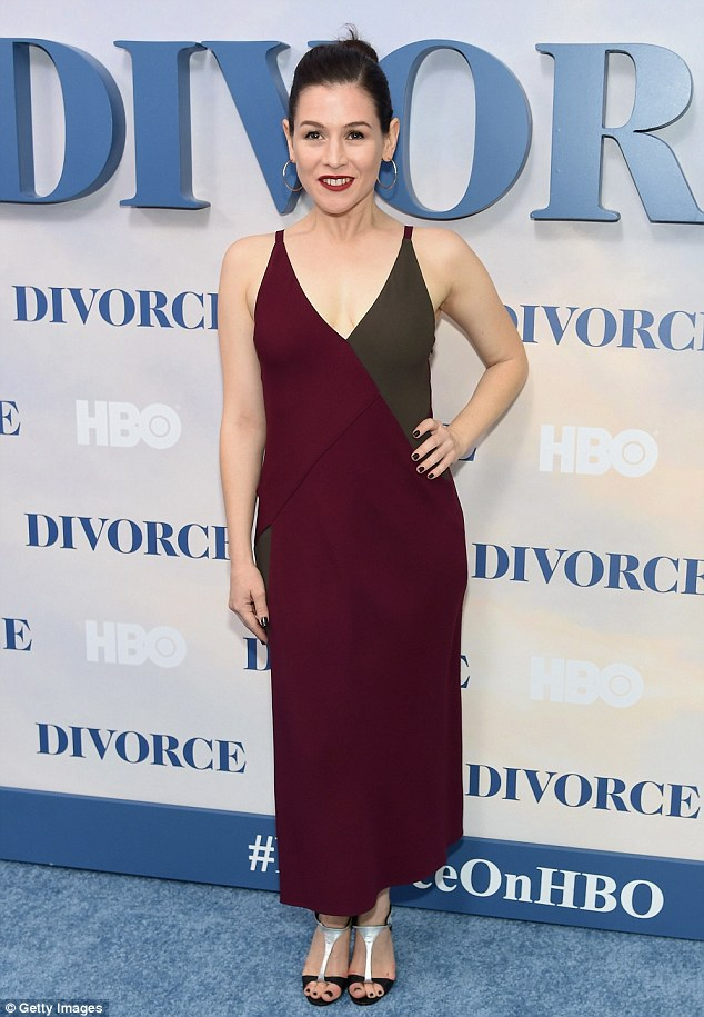 So chic: Yael Stone arrived in a colourblock dress in autumnal hues