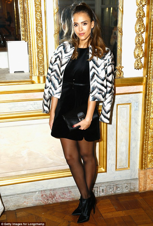 Party time: Jessica Alba cut a slick figure at Longchamp Boutique St Honore on Tuesday night as part of Paris Fashion Week