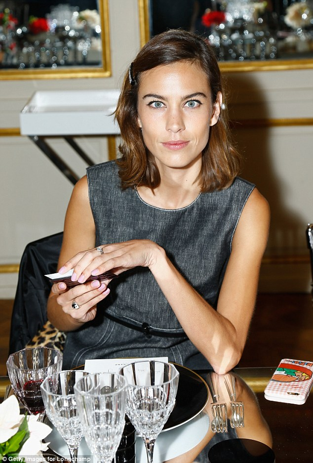 Dinner guest: Alexa was a guest of honour at the party, as a star of the new Longchamp campaign