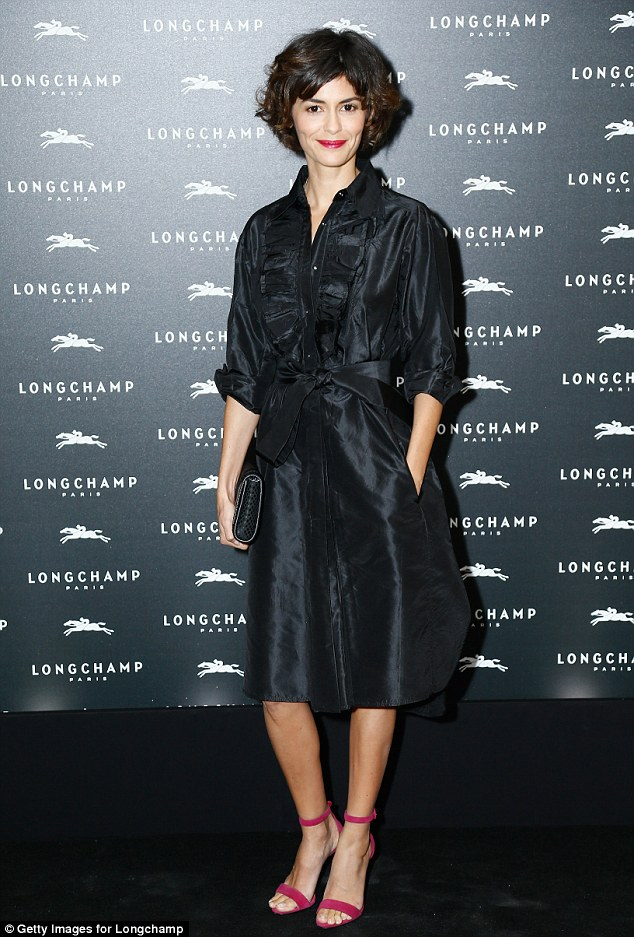 Glamazon: Audrey Tautou paired colour rich shoes with a coat dress