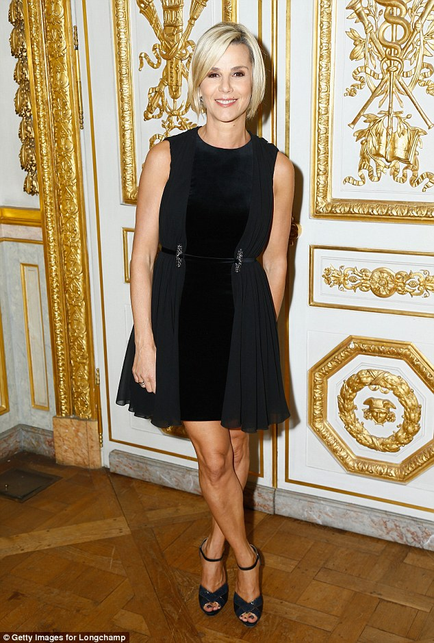Little black dress: Laurence Ferrari rocked a little black dress