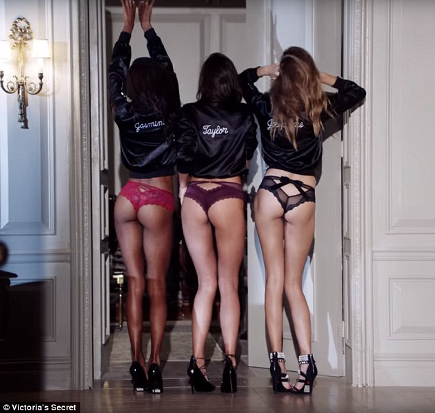 Cheeky! The girls - including Jasmine Tookes (left), Taylor Hill (center) and Josephine Skriver (right), frolic around a hotel room in some sexy underwear designs