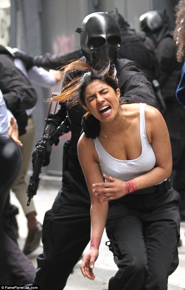 Ouch! On Tuesday, Priyanka Chopra sported raw wrists as she was pushed around by a masked man on the downtown Manhattan set of Quantico