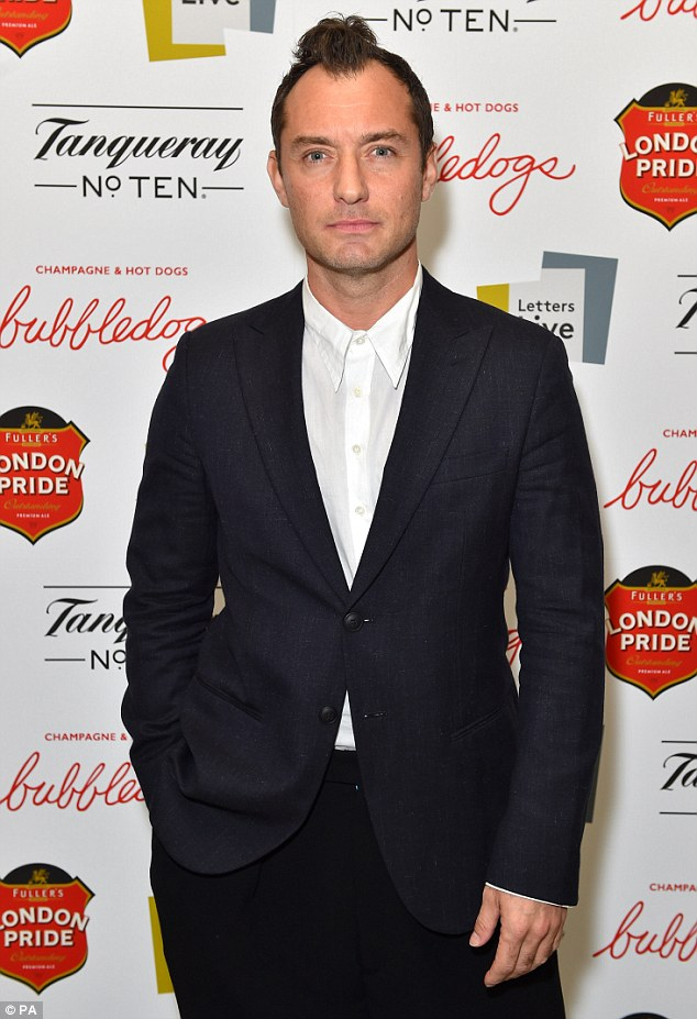 Self raising: Jude Law appeared to have teased his hair into a rather questionable looking mohawk ahead of a welcome visit to annual literary event Letters Live in London on Tuesday evening