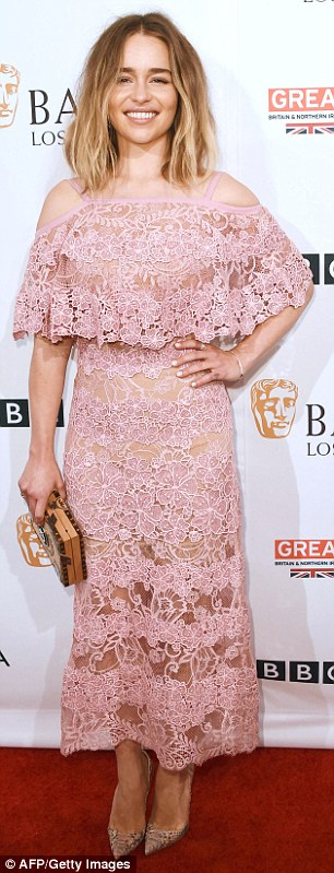 'It' Brits: Emilia Clarke, 29, donned an Elie Saab lace pink dress recently