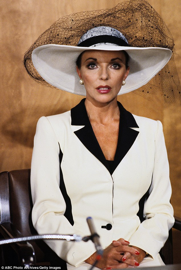 Dame Joan Collins pictured as Alexis Carrington in Dynasty in 1981, giving evidence at her former husband's trial