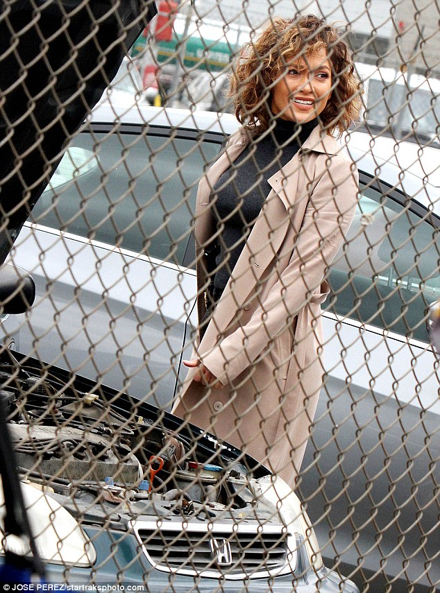 Hard at work: On Tuesday, Lopez was spotted filming her NBC cop drama behind a fence