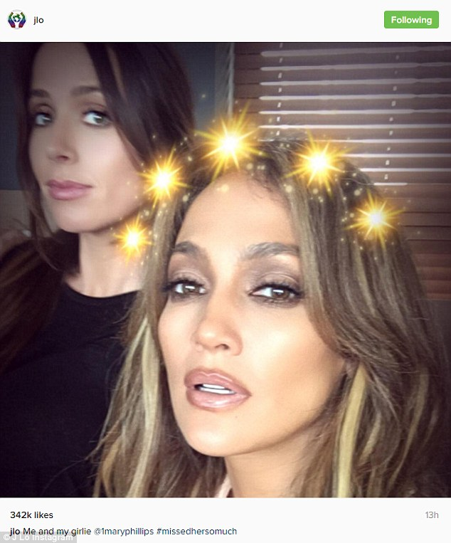 You glow girl:And there was another shot where she had a Snapchat filter on as pal Mary Phillips looks on
