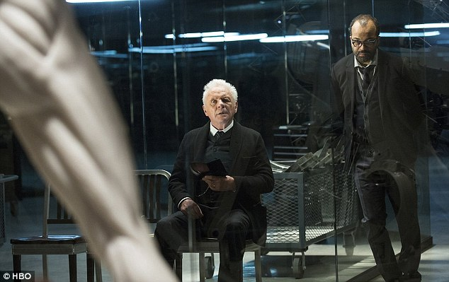 Back in the lab: Anthony Hopkins stars as Westworld's mastermind Dr Richard Ford, while Jeffery Wright plays Bernard Lowe