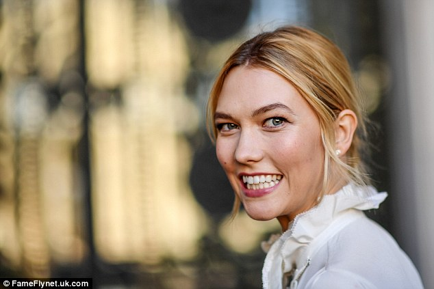 Natural beauty: Karlie wore some berry lipstick to plump her pout
