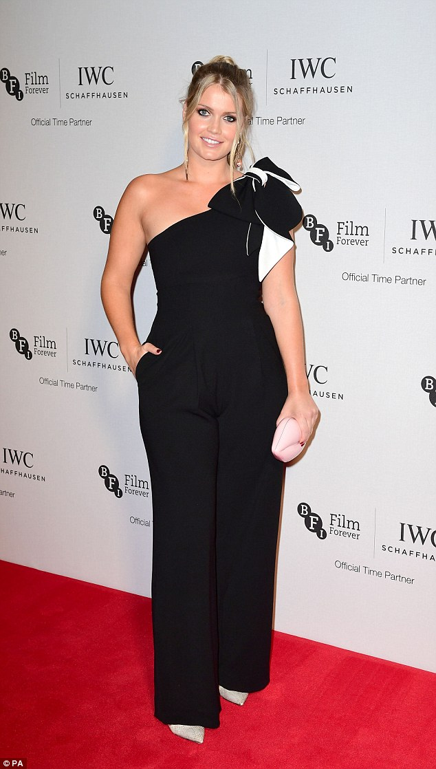 Monochrome magic: Lady Kitty Spencer was the picture of elegance in a bow embellished jumpsuit