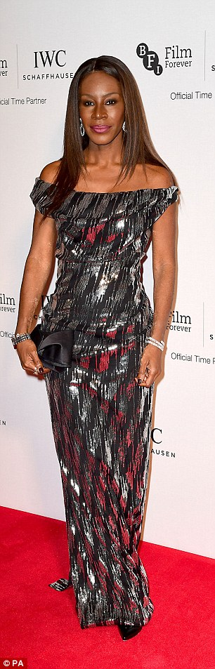 Silver stunners: Amma Asante (L) was hard to miss in a dazzling metallic frock