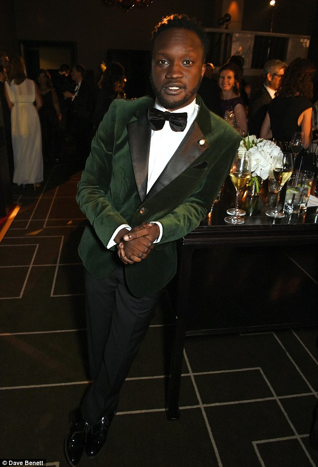 Suave: Actor Arnold Oceng looked dapper in a green velvet suit