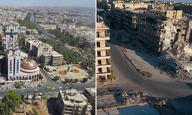 Drone footage shows Aleppo as modern thriving town in government-held areas