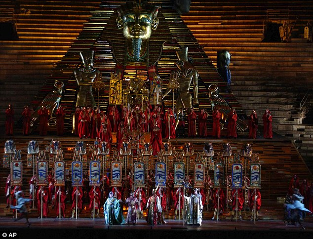 Lavish: The stage is set for a dress rehearsal of Aida in Verona, Italy in 2003