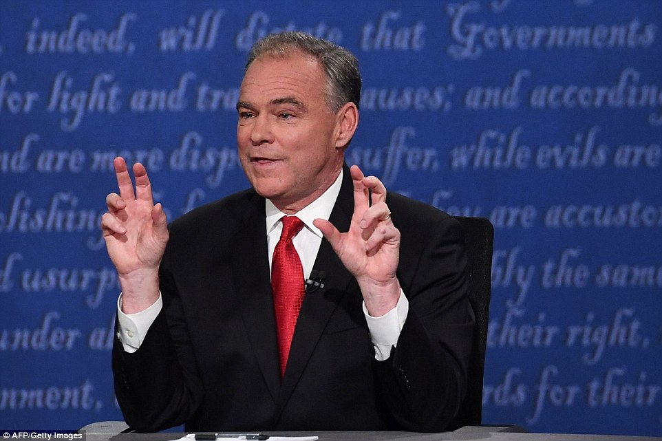 """In no time Kaine was ticking off a list of rhetorical body-slams Trump has used in the 16 months of his presidential campaign. 'He's called Mexicans """"rapists and criminals"""",' Kaine said. 'He has called women slobs, pigs, dogs, disgusting. I don't like saying that in front of my wife and mother'"""