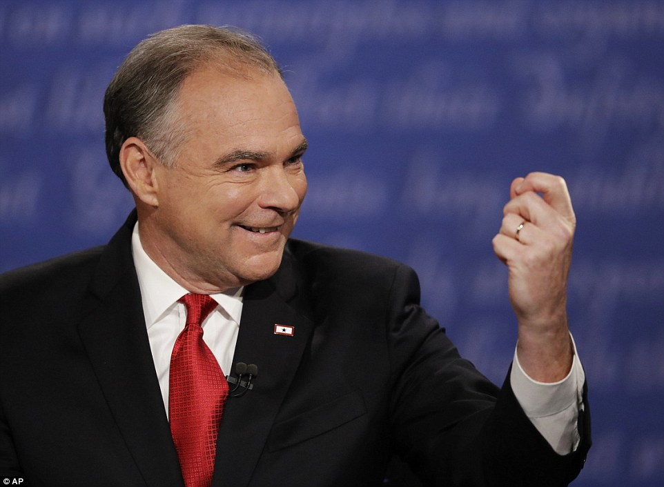 Kaine added: 'He attacked an Indiana-born federal judge and said he was unqualified to hear a federal lawsuit because his parents were Mexican. He went after John McCain, a POW, and said he wasn't a hero because he was captured