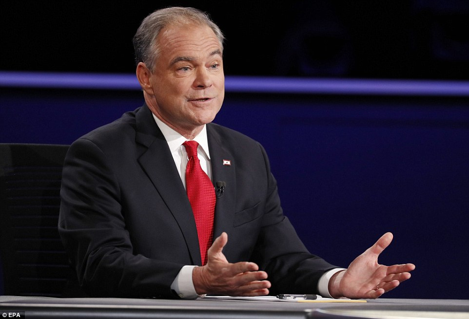 Kaine repeatedly interrupted his opponent and accused him of failing to properly defend Donald Trump