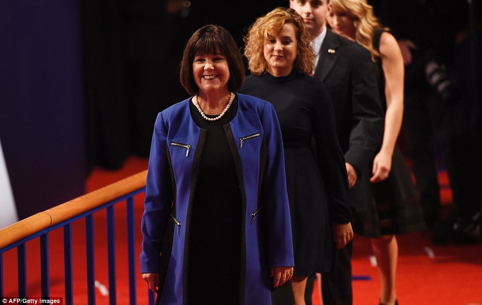 Karen Pence, wife of Republican candidate for Vice President  Mike Pence, arrives for the vice presidential debate