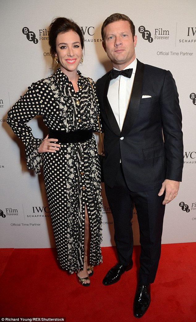 Loved-up:Dermot O'Leary still look smitten with his  wife Dee Koppang as they attended the IWC Schaffhausen Dinner in Honour of the BFI at Rosewood London on Tuesday night