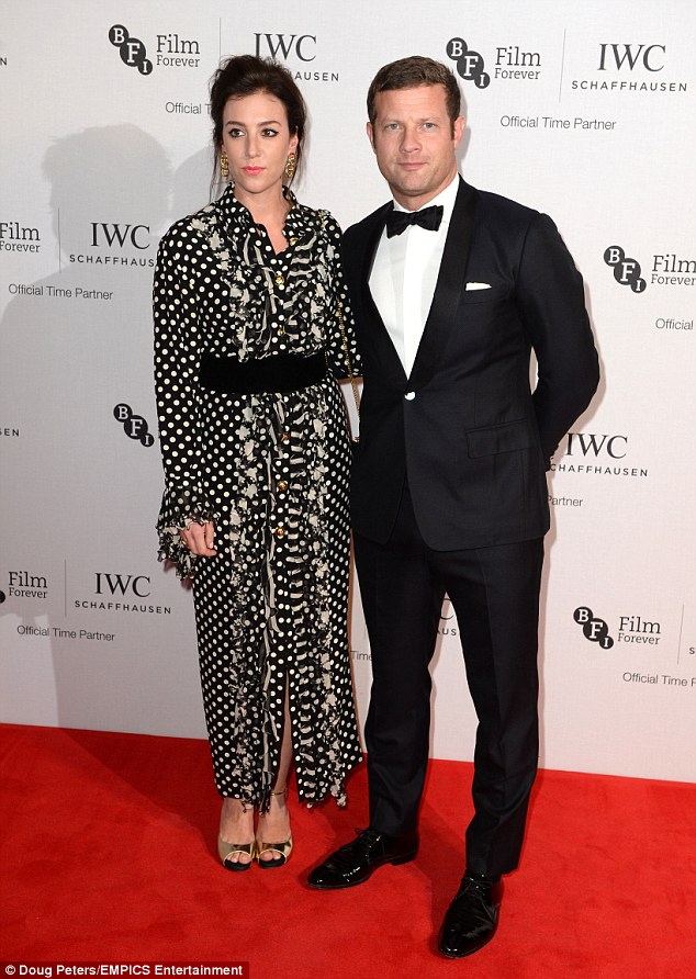 Taking centre-stage: Dermot, who proposed to Dee in New York in 2011 after 10 years together, looked suitably suave in a tailored two-piece which he paired with patent brogues